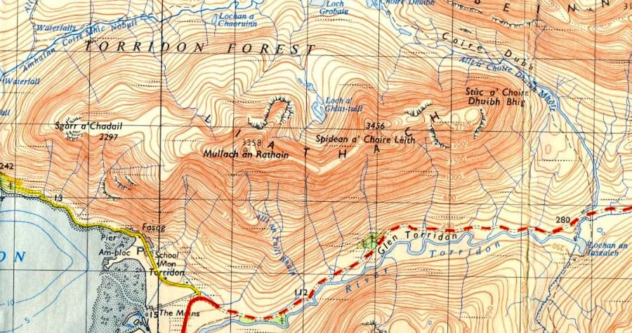 Map of Liathach in the Torridon region of the North West Highlands of Scotland