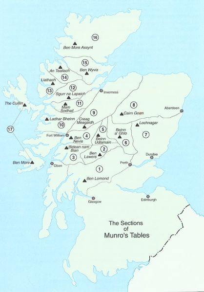Maps of scotland the munros and the capital city of edinburgh munro map of scotland gumiabroncs Choice Image