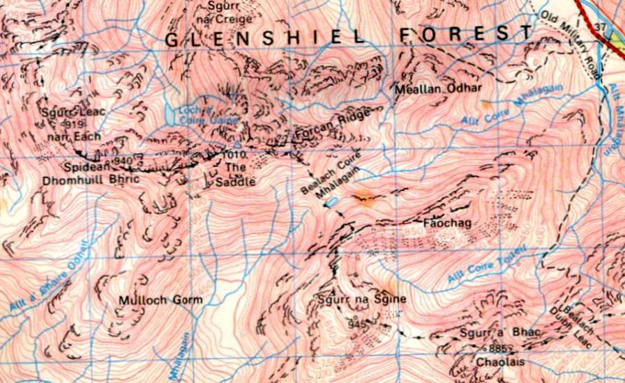 Map of Faochag and Sgurr na Sgine