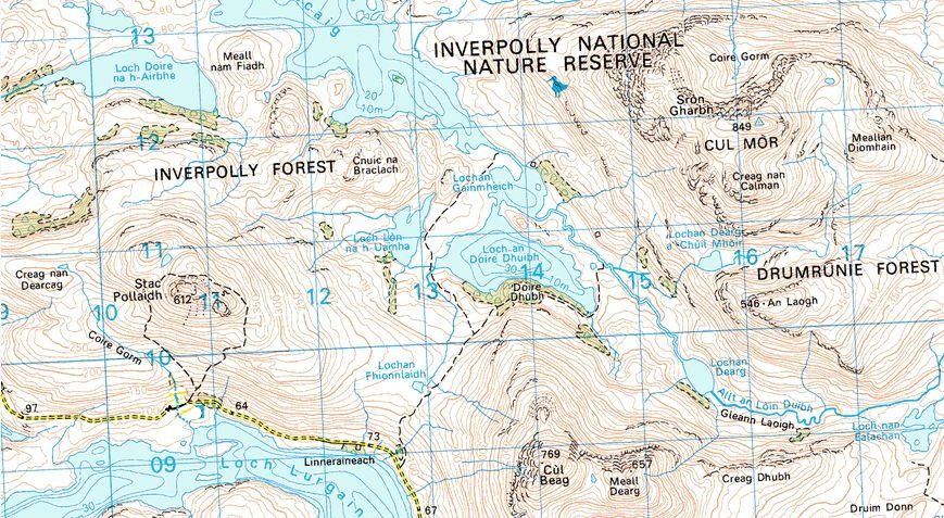 Location Map for Stac Pollaidh and Cul Beag in Wester Ross in the NW Highlands of Scotland