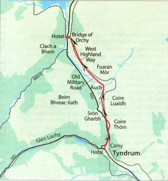 Photographs and route map of The West Highland Way around Tyndrum