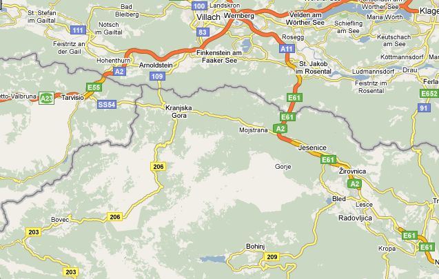 Location Map for Bled and Bohinj