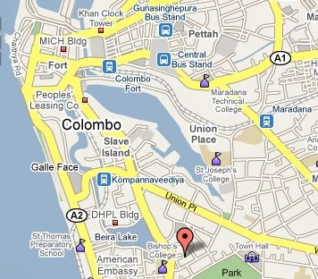 Photographs and map of Galle Face Green in Colombo City