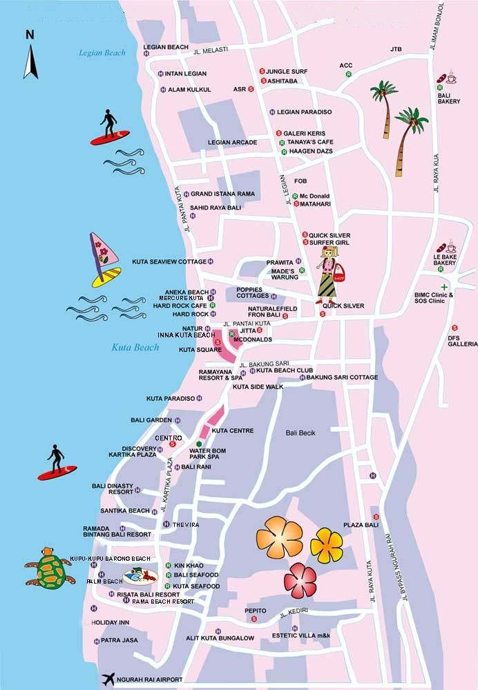Travel maps of bali showing mountains towns and places of interest tourism map of kuta on the indonesian island of bali gumiabroncs Image collections