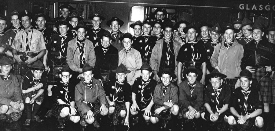 24th Glasgow ( Bearsden ) Scout Group at Glasgow Central Station prior to departure to Kandersteg