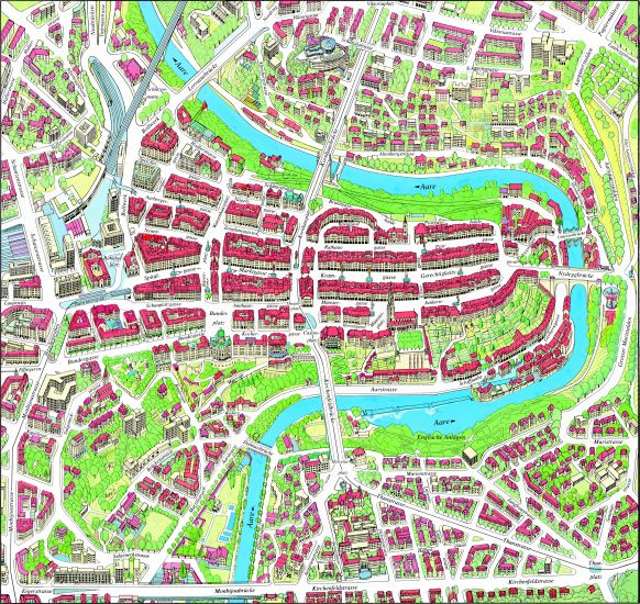 Map of Berne - capital city of Switzerland