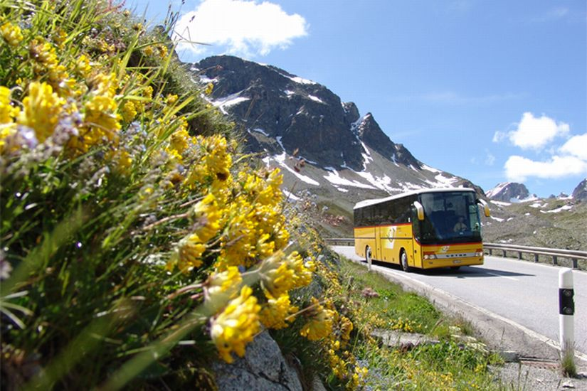 Post bus in the Swiss Alps