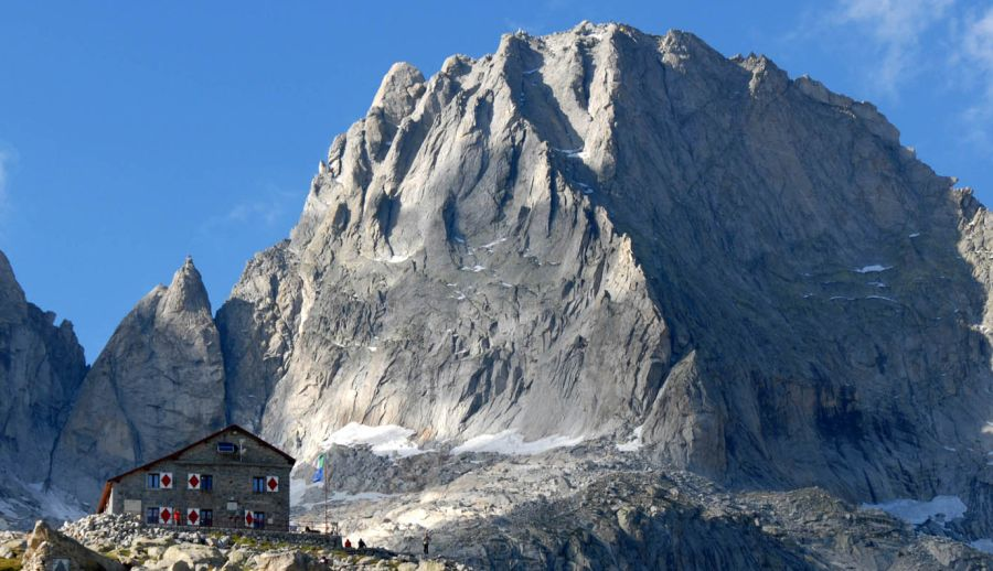 Piz Badile and Capanna Giannetti above Val Masino in Italy