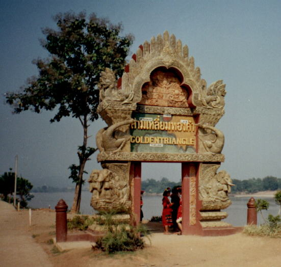Golden Triangle at junction of Burma, Laos and Thailand