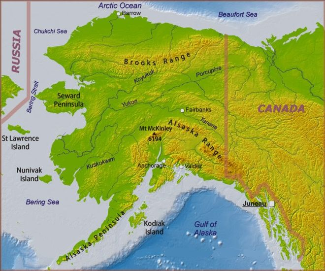 Physical Map for Denali ( Mount Mckinley ) in Alaska - the highest mountain in the USA and North America