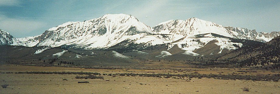 Mount Langley and Lone Pine Peak in the Sierra Nevada on approach to Mount Whitney from Owens Valley