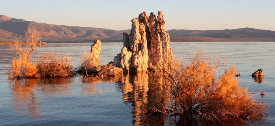 Tufa Towers in Mono Lake on approach to Mt. Whitney from Owen's Valley