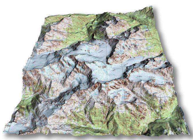 Topological Map for Mount Olympus in Washington State, USA