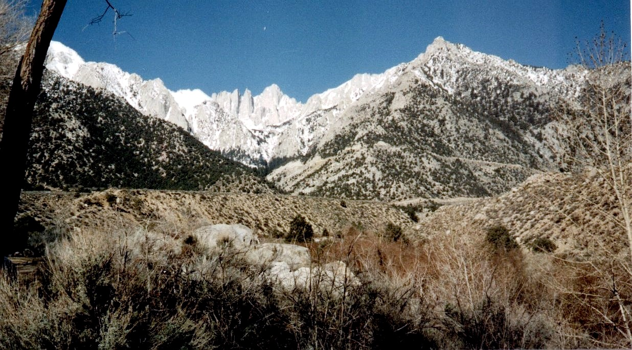 Mount Whitney on approach from Lone Pine in Owens Valley