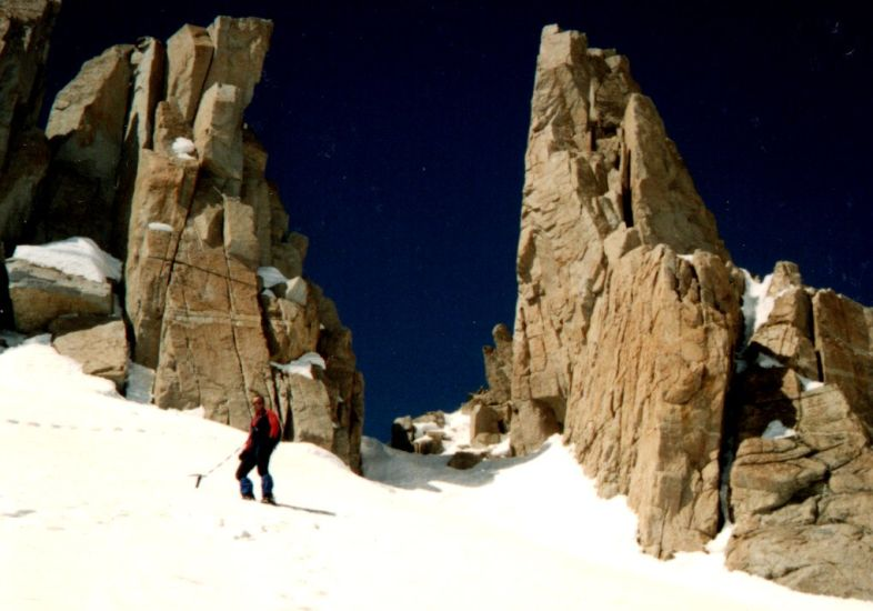 Rock pinnacles on approach to the Crest of the Sierra Nevada