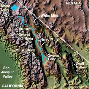 Location Map of Mt. Whitney in Owen's Valley