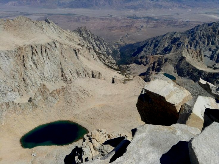 Owen's Valley from summit of Mount Whitney in summer