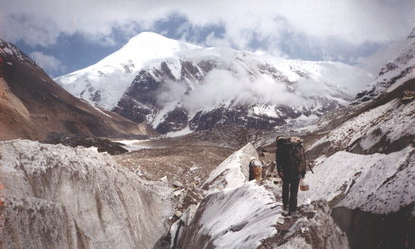 Tukuche Peak from the Chonbarden Glacier on approach to Base Camp on Dhaulagiri Circuit, Nepal Himalaya