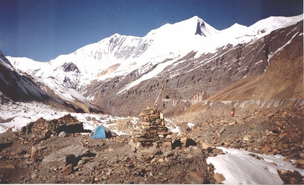 View from Dhaulagiri Base Camp down Chonbarden Glacier