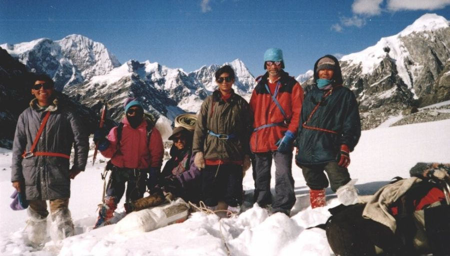 Trekking Group on Tilman's Pass in the Jugal Himal