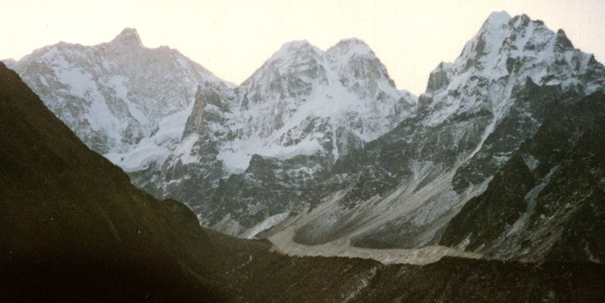 Jannu ( Kumbacharna ) Sobithongie ( 6669m ), Phole ( 6645m ) and Khabur ( 6332m ) from Kambachen in the Ghunsa Khola Valley in the Kangchenjunga Region of the Nepal Himalaya