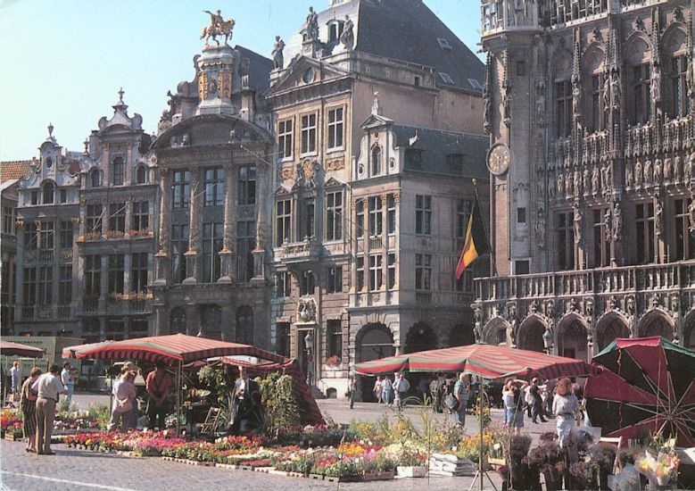 Flower Market in Grand Plaza in Brussels