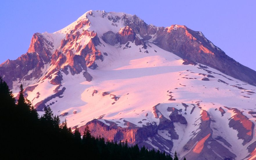 Sunset on Mount Hood - Highest mountain in Oregon, USA