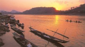 Tropical Sunset on the Mekong River at Luang Prabang in Laos