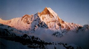 Sunset on Macchapucchre ( The Fishtail Mountain ) in the Nepal Himalaya