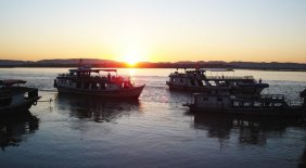 Sunset on Irrawaddy River at Mandalay in northern Myanmar / Burma