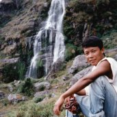 Waterfall in the Ganesh Himal region of the Nepal Himalaya