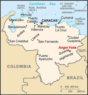 Location Map for the Angel Falls ( Salto Angel ) in Venezuela