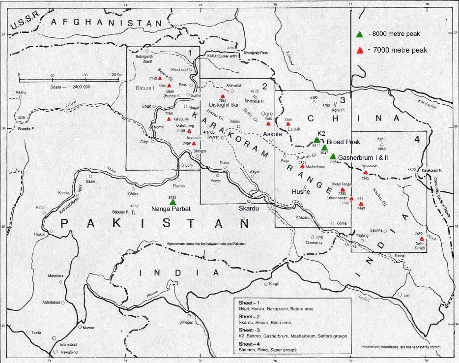 Location map of the Pakistan 8000 and 7000 metre peaks