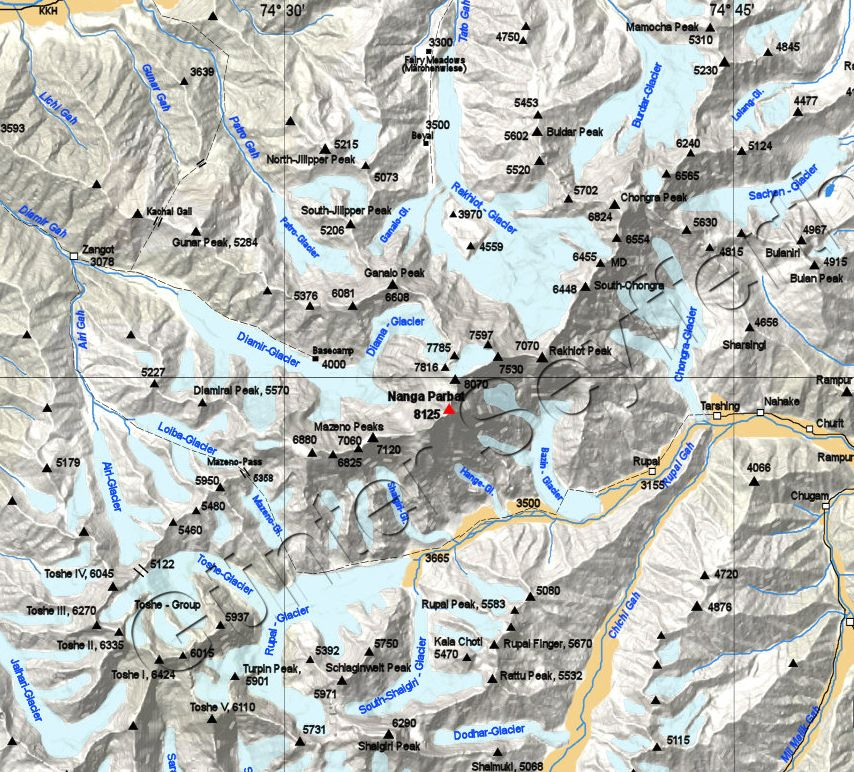 Map of the Nanga Parbat Region of the Pakistan Karakorum