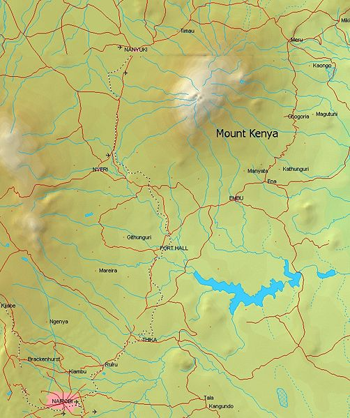 Photo gallery and ascent route maps of mount kenya in east africa relief map for mount kenya in east africa gumiabroncs Images