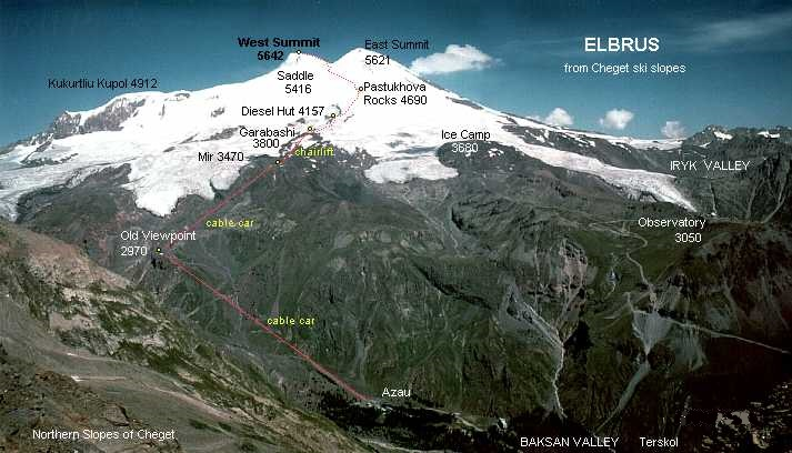 Photo Gallery Of And Climbing Information On Mount Elbrus In The - Mt elbrus map