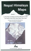 Nepal Himalaya Map 1: Far west Nepal, Api-Nampa, Seti River