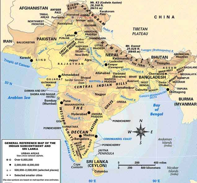 Maps of the indian sub continent political country and physical map of the mountains of the indian sub continent gumiabroncs Gallery