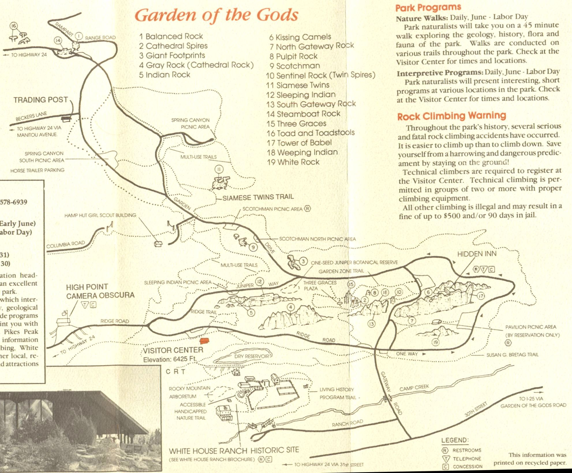 Garden Of The Gods Colorado Map.Photographs And Map Of The Sandstone Fins And Pinnacles In The
