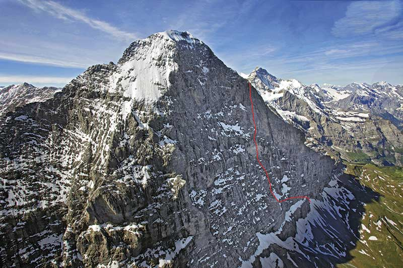 Eiger Ascent Routes Photographs And Map Of The North Face And West Flank The Normal Route Above Grindelwald In The Bernese Oberlands
