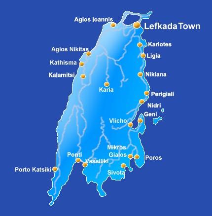 Map Of The Ionian Island Of Lefkas Lefkada Off Mainland Greece