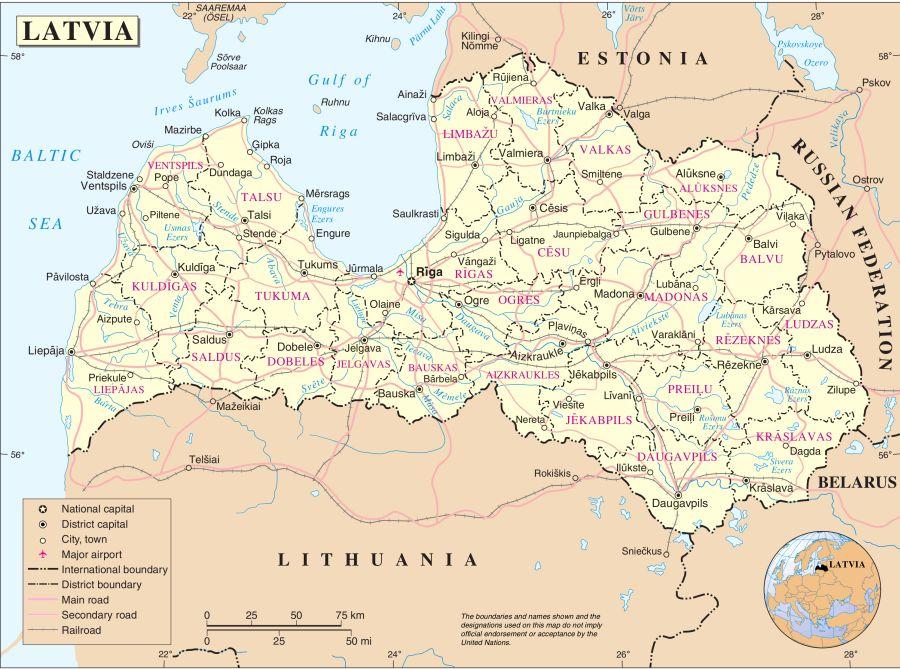 Maps of Latvia and the capital city Riga in the Baltics Region of NE ...