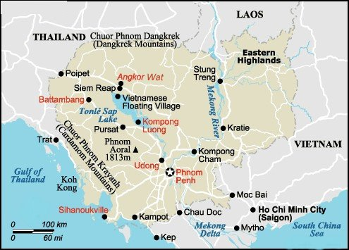 Maps of Cambodia ( Kampuchea ) - country, Phnom Penh ...