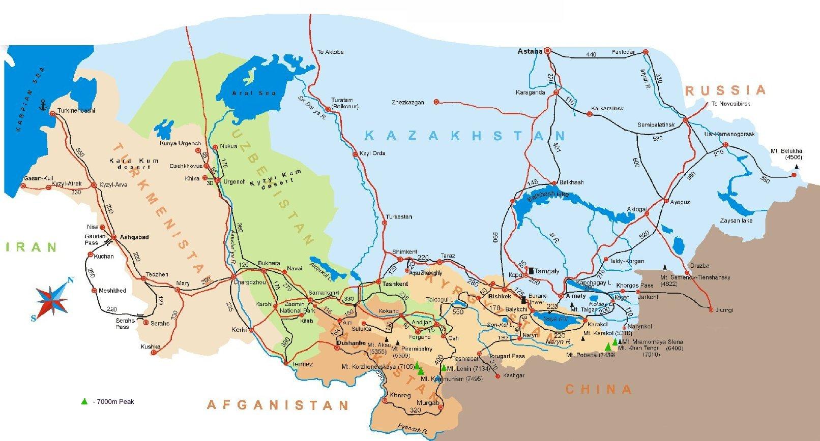 Map Of Asia Kyrgyzstan.Map Of Central Asia Tadjikistan Kyrgyzstan Uzbekhistan