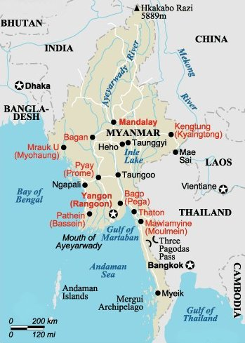Maps Of Myanmar Burma Bay Of Bengal Yangon Rangoon