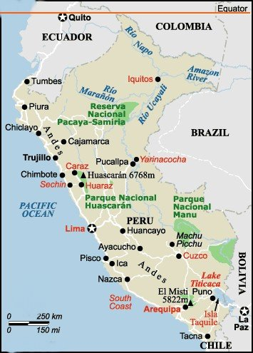 Travel / Tourism Map of Peru