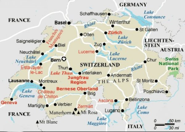 Maps of Switzerland, the Alps and the capital city Berne
