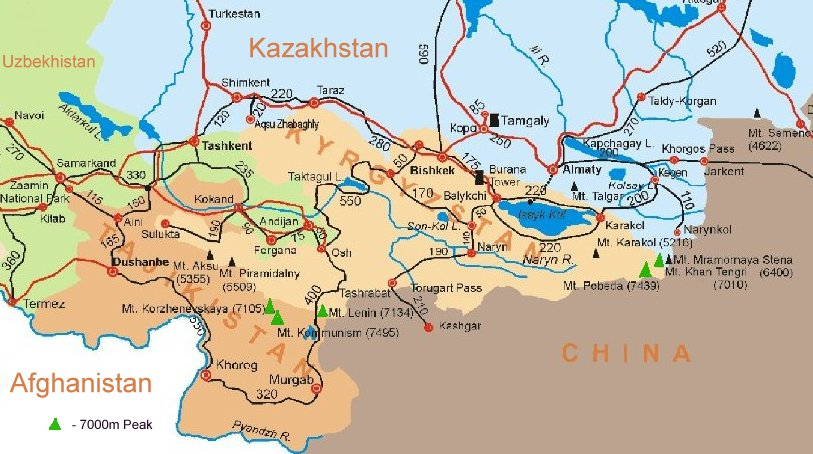 Maps of Tadjikistan and Kyrgyztan in Central Asia