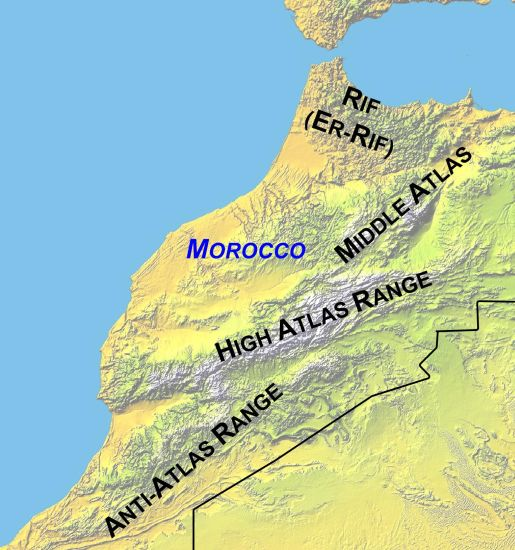 Maps of morocco high atlas rif mountains and marrakesh map of mountains of morocco gumiabroncs Image collections