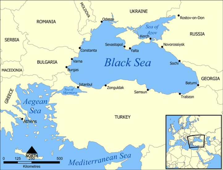 Map of Romania and Map of the Black Sea